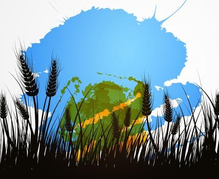 cultivating: Vector de imagen de campo de trigo