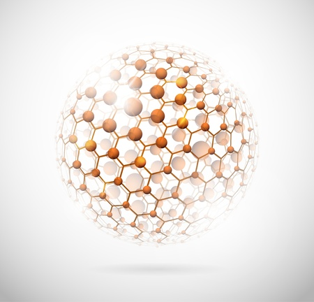 atomic nucleus: Image of the molecular structure in the form of a sphere
