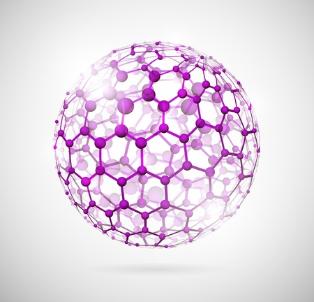 Image of the molecular structure in the form of a sphere  Eps 10 Vector