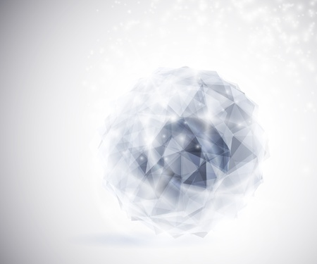 solid blue background: Precious crystal in the shape a sphere  Eps 10 Illustration