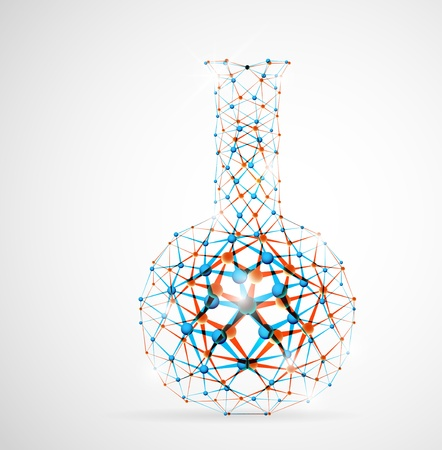 Chemical flask of the molecular structure  Eps 10 Illustration