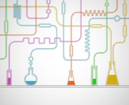material de vidrio: Ilustración del laboratorio químico Vectores