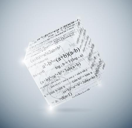 cubo: Cubo de cristal con f�rmulas matem�ticas Eps 10