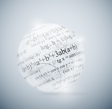 compute: Glass sphere with mathematical formulas