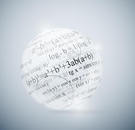 Vidrio esfera con fórmulas matemáticas