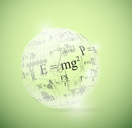 Glass sphere with physical formulas  Eps 10 Stock Vector - 13186899