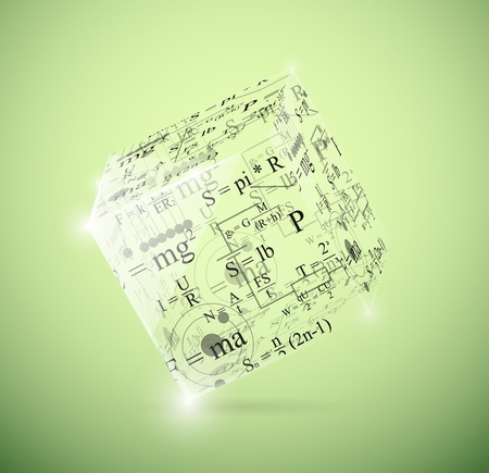 theory of relativity: Glass cube with physical formulas  Illustration