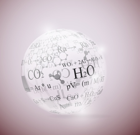 chemical reactions: Glass sphere with chemical formulas