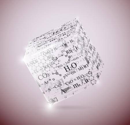 symbole chimique: Cube de verre avec des formules chimiques