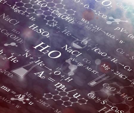 symbole chimique: Arri�re-plan avec des formules chimiques