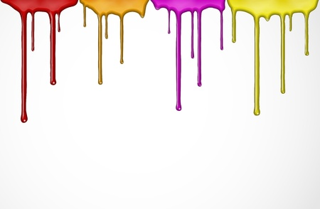 wet paint: Flowing down the colorful paint  Eps 10