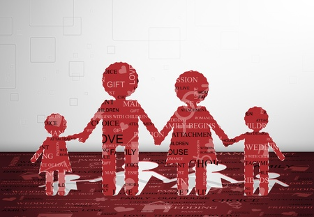 Family cut out of paper with text  Eps 10 Vector