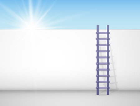 Escalera contra una pared, detrás de la cual el sol brilla brillantemente Eps 10