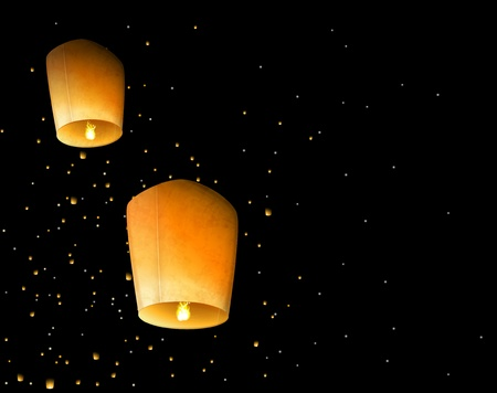 Two sky lantern in the night sky Vector
