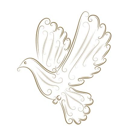 Schets van duif gouden Bruch Vector Illustratie
