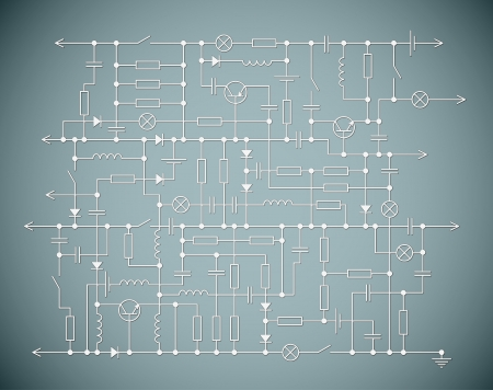 Background with an electrical circuit scheme Vector