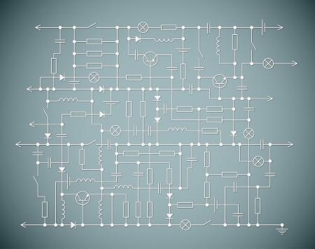circuitos electricos: Fondo con un esquema de circuito el�ctrico
