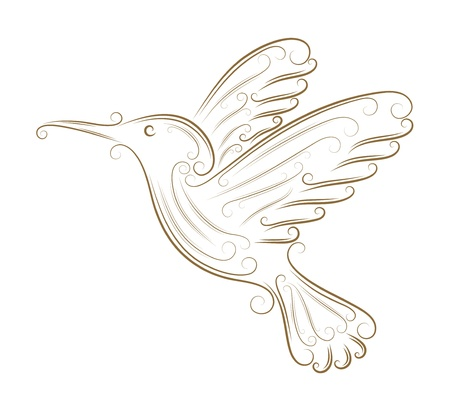 Sketch of hummingbird golden brush Vector