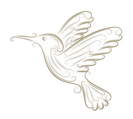Sketch of hummingbird golden brush Stock Vector - 13715833