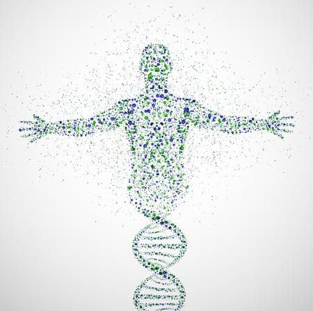 Modello astratto di uomo della molecola di DNA
