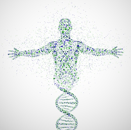 adn humano: Modelo abstracto del hombre de la molécula de ADN