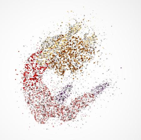 bailarines silueta: Imagen abstracta de una bailarina de los c�rculos Eps 10 Vectores