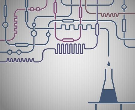 material de vidrio: Ilustraci�n del laboratorio cient�fico con la botella de Vectores