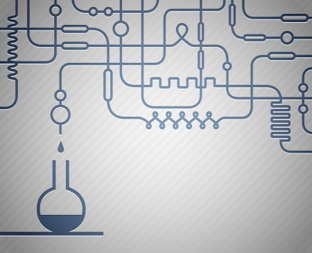beaker: Ilustración del laboratorio científico con la botella de Vectores
