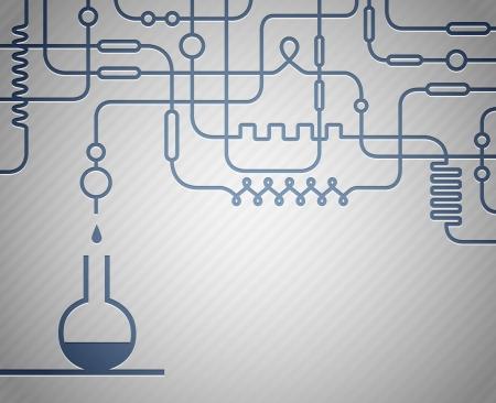 industria quimica: Ilustraci�n del laboratorio cient�fico con la botella de Vectores