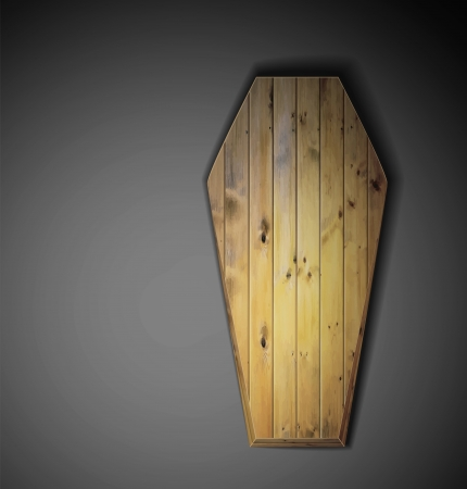 Realistic wooden coffin  Eps 10 Vector