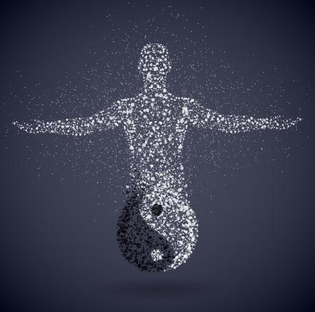 シンボル: 陰と陽、男性的なヤン Eps 10 を示すのシンボル
