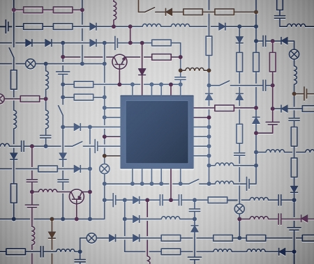 circuito electrico: Antecedentes con un diagrama de circuito el�ctrico con el procesador Vectores