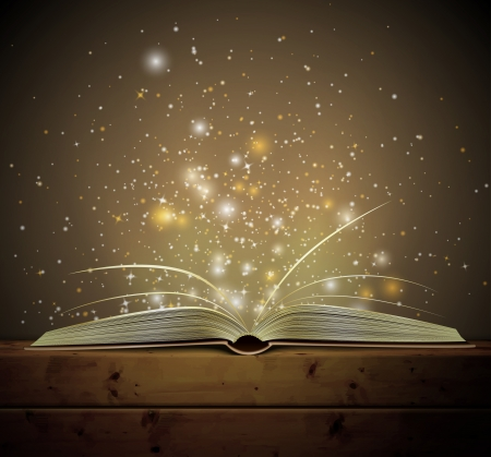 빛과 열기 마법의 책 일러스트