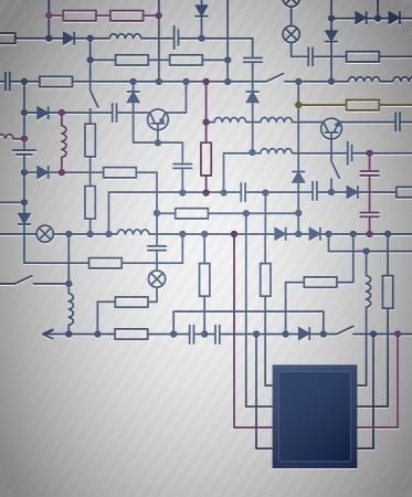 electrical circuit: Sfondo con uno schema elettrico circuitale Vettoriali
