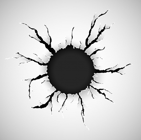 black hole: Hole with cracks in the paper Illustration