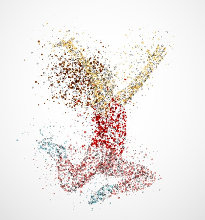 woman jump: Abstract image of a dancing girl from the circles