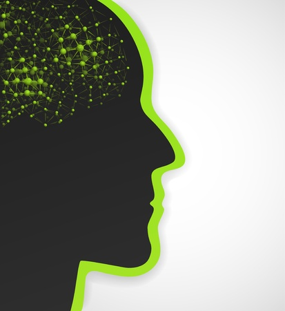 Background with silhouette of man and the brain of molecules   Vector
