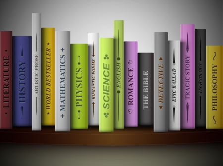 문학의: 선반에 다양한 문학 장르의 책