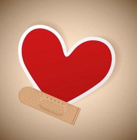 herida: Corazón de papel, yeso pegado médica