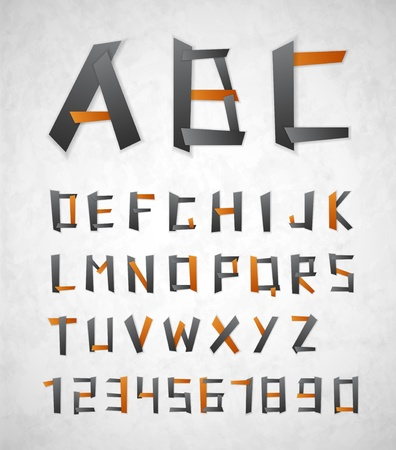 Alphabet and numbers from paper  Vector
