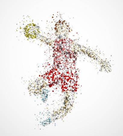 handball: Abstract handball player, throw the ball