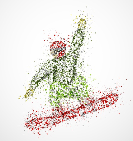 Abstract snowboarder a jump Vector