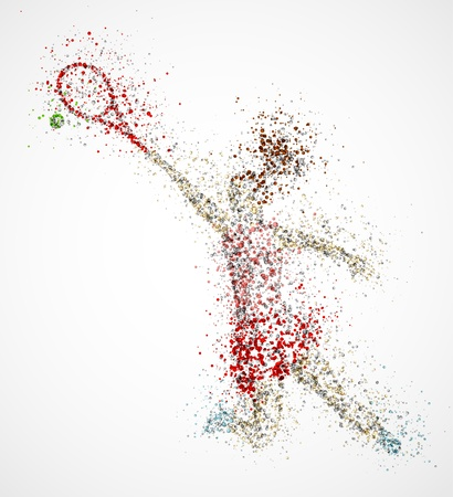 female athlete: Abstract tennis player, kick the ball Illustration