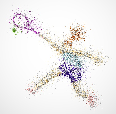 beauty contest: Abstract tennis player, kick a ball