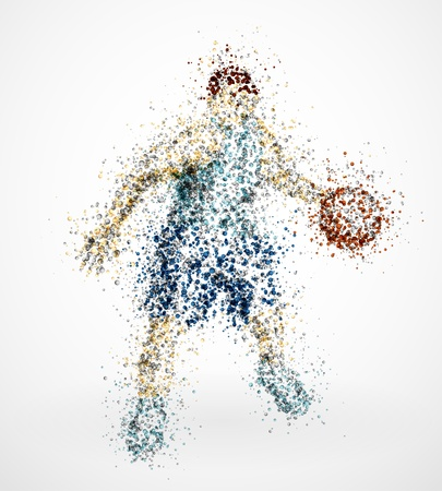 Abstract basketball player with ball Vector