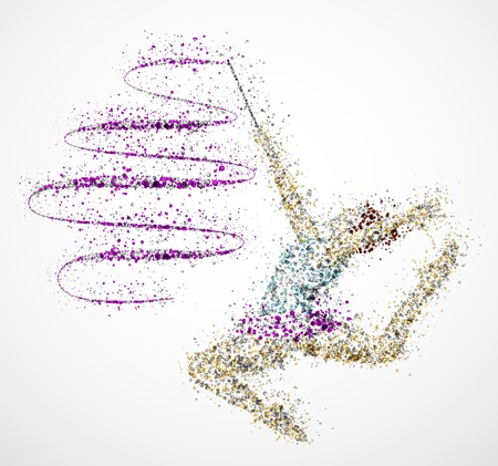 acrobat gymnast: Abstract gymnast in jump with ribbon Illustration