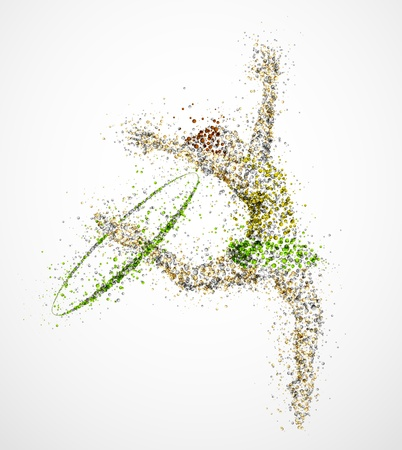 female gymnast: Abstract gymnast with hoop