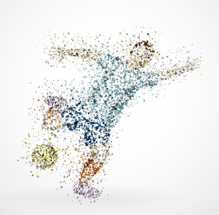 Abstract football player, kick the ball Ilustração
