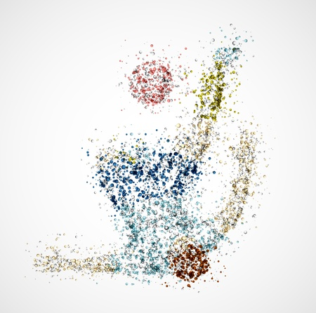 soccer kick: Abstract football player, kick a ball