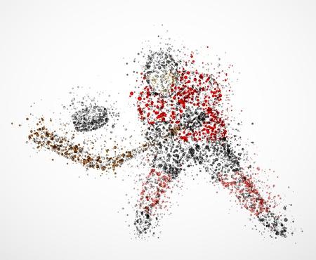 hockey sobre hielo: Resumen jugador de hockey, se dispara el disco Vectores